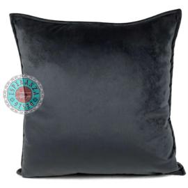 Velvet antraciet grijs kussenhoes passend bij veren/bladeren kussen ± 45x45cm