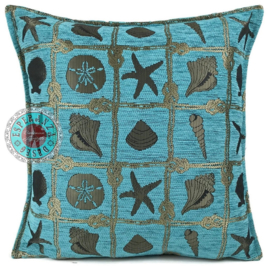 Patchwork turquoise brons kussen ± 45x45cm