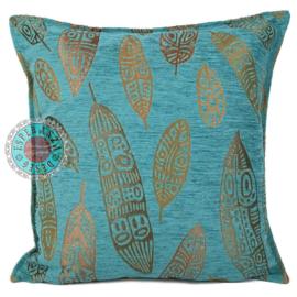 Boho Feathers turquoise kussen ± 45x45cm