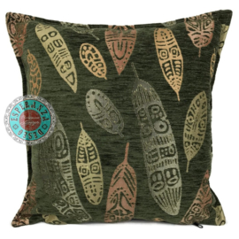 Boho Feathers army green kussen ± 45x45cm