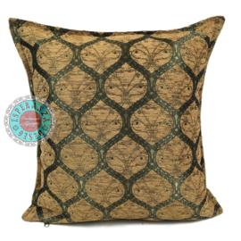 Donker okergeel kussenhoes - Honingraat (goud motief) ± 45x45cm