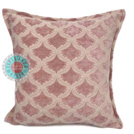Vintage roze kussen ± 45x45cm - Brocant ornament