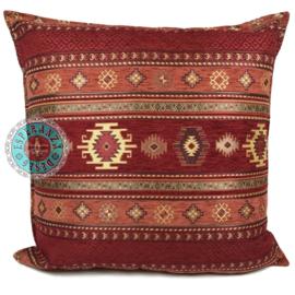 Rood met brick oranje kussen - Aztec ± 70x70cm