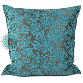 Turquoise kussen Coral branches (koraal takken) ± 70x70cm