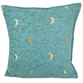 Pastel turquoise kussenhoes - Stars and moons ± 45x45cm