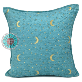 Turquoise kussen - Stars and moons ± 45x45cm