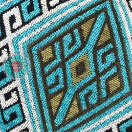 Kelim turquoise en wit kussen ± 70x70cm