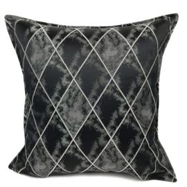 Zwart met grijze kussenhoes - Harlequin ± 45x45cm