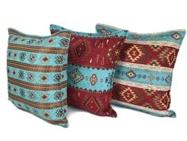 Turquoise en rood kussenhoes - Kelim ± 45x45cm