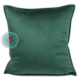 Velvet donker groene kussenhoes passend bij veren/bladeren kussen ± 45x45cm