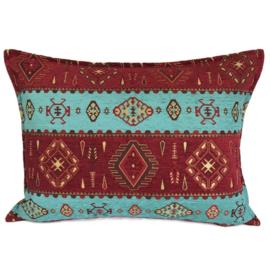Turquoise en rood kussenhoes - Navajo 50x70cm