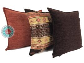Aztec oker en bruin kussenhoes ± 45x45cm