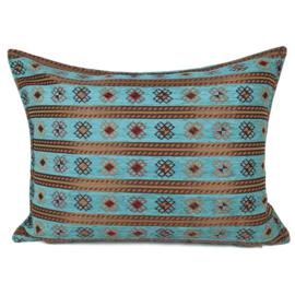 Turquoise blauw groen kussen - Peru stripes ± 50x70cm