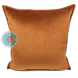 Velvet Cognac oranje kussenhoes passend bij veren/bladeren kussen ± 45x45cm
