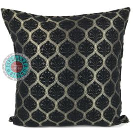 Honingraat zwart kussen ± 70x70cm (bronskleurig motief)