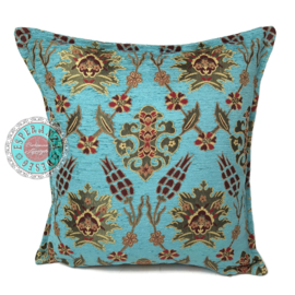 Turquoise kussenhoes - Tropical flowers daisy ± 45x45cm
