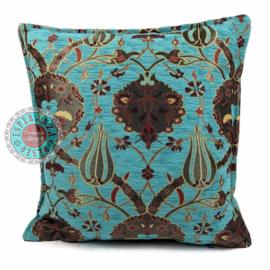 Flowers turquoise kussen ± 45x45cm