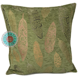 Boho Feathers olive green kussen ± 45x45cm