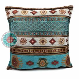 Aztec turquoise kussen ± 45x45cm