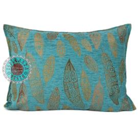 Boho Feathers turquoise kussen ± 50x70cm