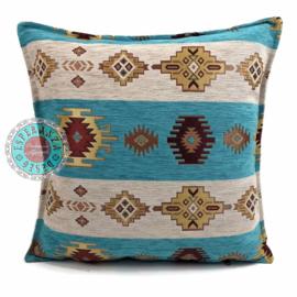 Aztec wit met turquoise kussen ± 45x45cm