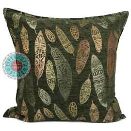 Boho Feathers army green kussen ± 70x70cm
