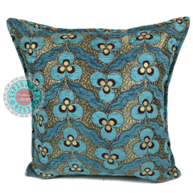 Turquoise kussenhoes - pansy flowers ± 45x45cm