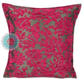Hard roze kussen coral branches (koraal takken) ± 45x45cm