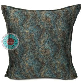 Petrol/turquoise kussenhoes - Marble stone ± 45x45cm