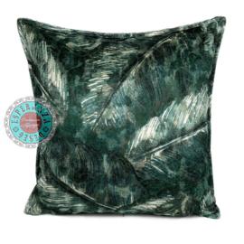Groene kussenhoes met mooie veren/bladeren print 45x45cm