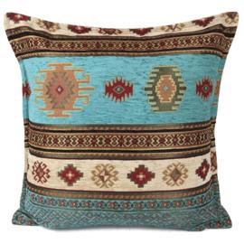 Aztec turquoise en crème kussenhoes ± 45x45cm
