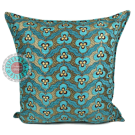 Turquoise kussen - pansy flowers ± 70x70cm