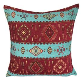 Turquoise en rood kussenhoes - Navajo 70x70cm