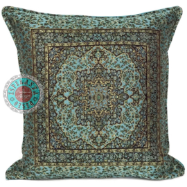 Turquoise kussenhoes Mandala little Flowers ± 45x45cm