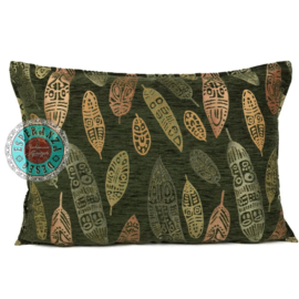 Boho Feathers army green kussen ± 50x70cm