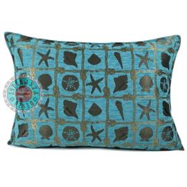 Turquoise kussen - beach ± 50x70cm