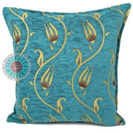 Flower string turquoise en geel kussen ± 45x45cm