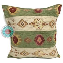 Olijf groen en creme kussenhoes - Aztec stripes ± 45x45cm