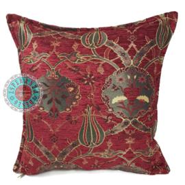 Rood kussenhoes - Flowers ± 45x45cm