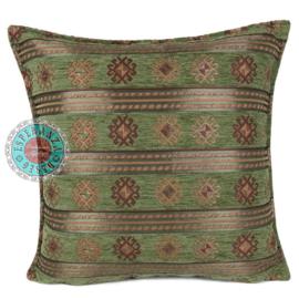 Peru stripes olijf groen kussen ± 45x45cm