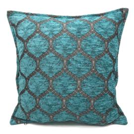 Honingraat turquoise kussenhoes ± 45x45cm (tin kleurig)