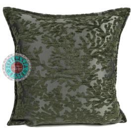 Legergroen kussenhoes - (Koraal) takken ± 45x45cm