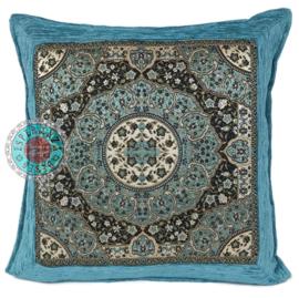 Turquoise kussen Mandala round ± 45x45cm