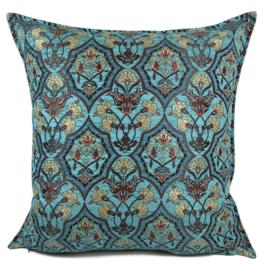 Turquoise kussenhoes - Flowers turquoise en petrol ± 70x70cm