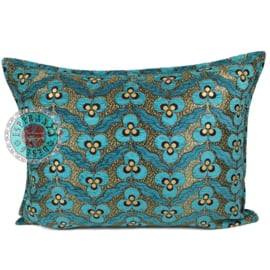 Turquoise kussenhoes - pansy flowers ± 50x70cm