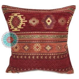 Rood met brick oranje kussenhoes - Aztec ± 45x45cm