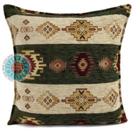 Aztec stripes legergroen en creme kussen ± 45x45cm