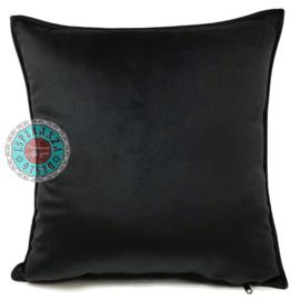 Velvet zwart kussenhoes passend bij veren/bladeren kussen ± 45x45cm