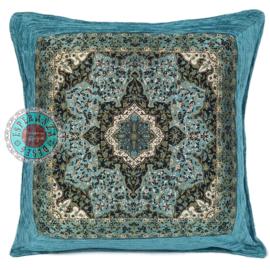 Turquoise kussenhoes Mandala Flower ± 45x45cm