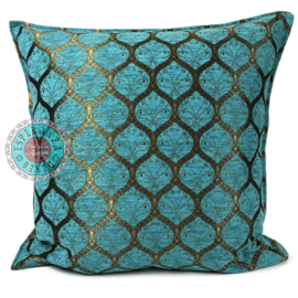 Honingraat turquoise kussen ± 70x70cm (bronskleurig motief)
